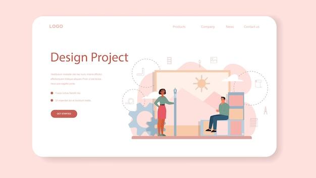 Banner web o pagina di destinazione di graphic designer o illustratore digitale