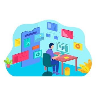 Desktop dell'area di lavoro dell'ufficio del computer piatto del grafico grafico