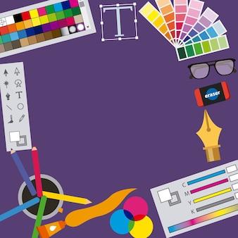 Set di processo creativo di icone di graphic designer