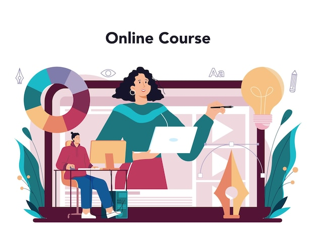 Servizio o piattaforma online di graphic designer. artista digitale che crea design del marchio, identità aziendale e pubblicità. corso on line. piatto illustrazione vettoriale