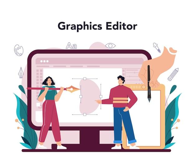 Servizio online di graphic designer o piattaforma di artista digitale che crea marchio