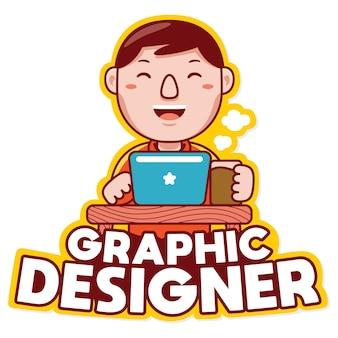 Vettore di logo della mascotte di professione del progettista grafico nello stile del fumetto