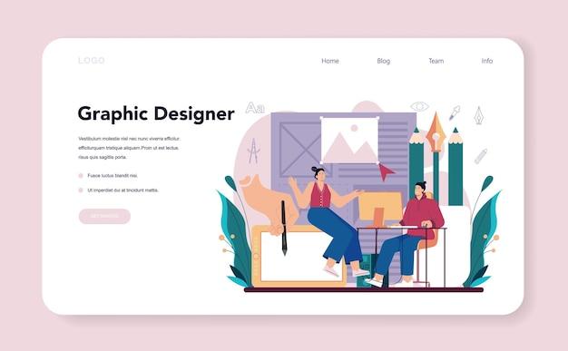 Banner web designer grafico o artista digitale pagina di destinazione che crea marchio