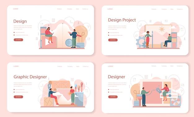 Set di pagine di destinazione web di graphic designer. immagine sullo schermo del dispositivo. disegno digitale con strumenti e apparecchiature elettroniche. concetto di creatività. illustrazione piatta vettore