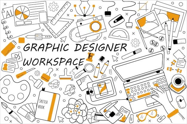 Insieme di doodle dell'area di lavoro di graphic designer. raccolta di schizzi disegnati a mano scarabocchi.