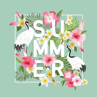 Illustrazione grafica di gru giapponesi e fiori tropicali per il design di t-shirt, stampe di moda, banner, volantini in vettoriale