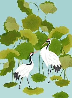 Illustrazione grafica di gru giapponesi e fiori di loto tropicale per il design di t-shirt, stampe di moda, banner, volantini in vettoriale
