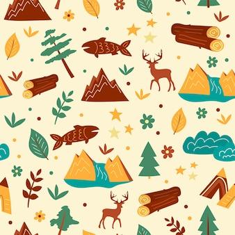 Reticolo senza giunte di illustrazione grafica con alberi e montagne. texture vettoriali disegnati a mano per bambini