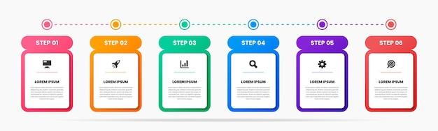 Grafica di modelli di design elemento infografico con icone e 6 passaggi