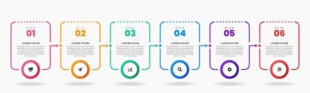 Grafica di modelli di design elemento infografico con icone e 6 passaggi Vettore Premium