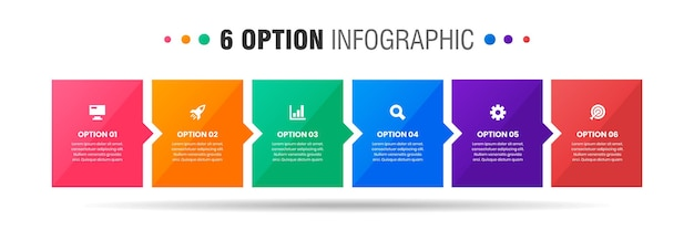 Grafica di modelli di progettazione di elementi infografici con icone e opzioni