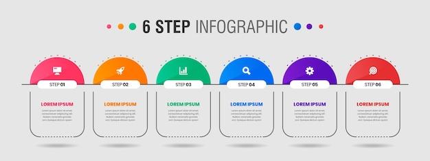 Grafica di modelli di progettazione di elementi infografici con icone e passaggi