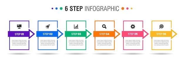 Grafica di modelli di progettazione di elementi infografici con icone e passaggi Vettore Premium
