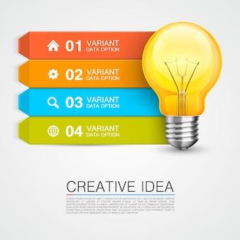 Obiettivo di informazioni grafiche con l'idea. illustrazione vettoriale