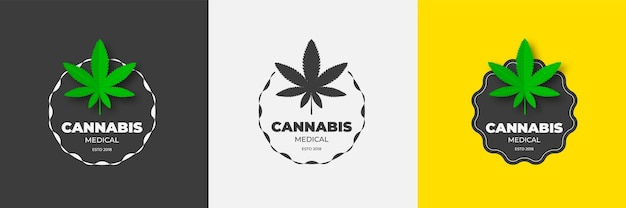 Logo design grafico con marijuana medica emblema vettoriale di cannabis sativa e cannabis indica