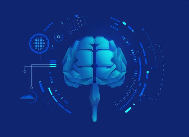 Grafica del cervello low poly con elemento futuristico