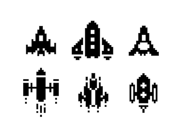 Set grafico di pixel art in bianco e nero dell'astronave