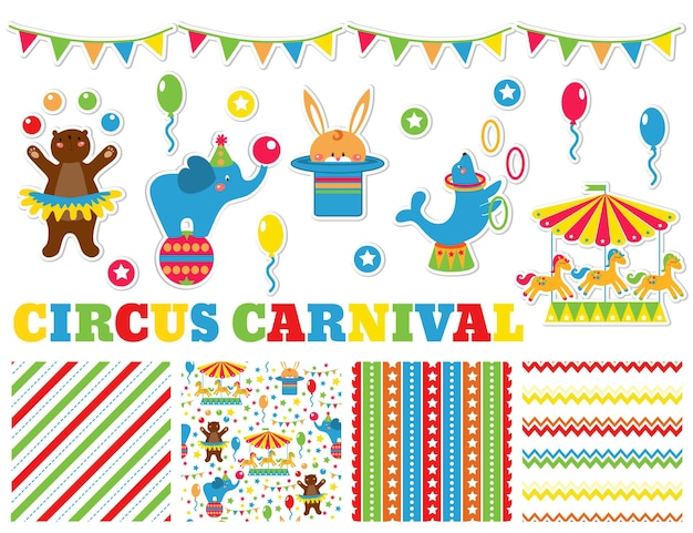 Set grafico con simpatici animali da circo