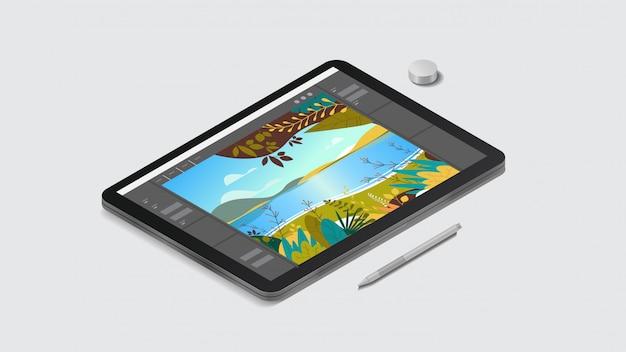 Tavoletta grafica con bellissimo sfondo del paesaggio sullo schermo concetto di gadget e dispositivi realistici
