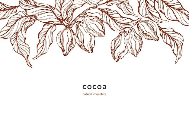Modello grafico albero di cacao fagiolo bacca grano frutta cioccolato naturale