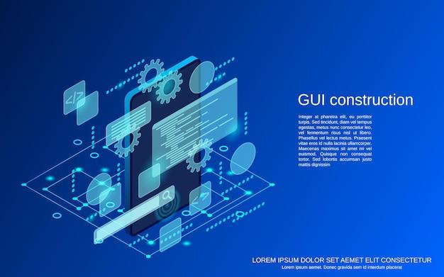 Illustrazione isometrica piana di concetto di vettore della costruzione dell'interfaccia utente grafica