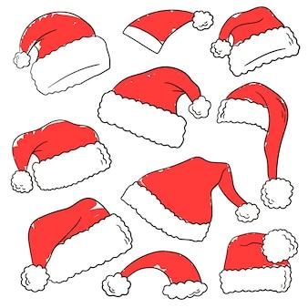 Set grafico a colori di cappelli natalizi rossi