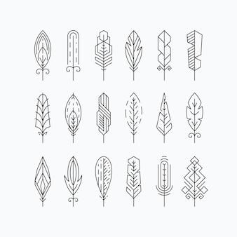 Set di piume di linea grafica mono. elementi o segni lineari. isolato.