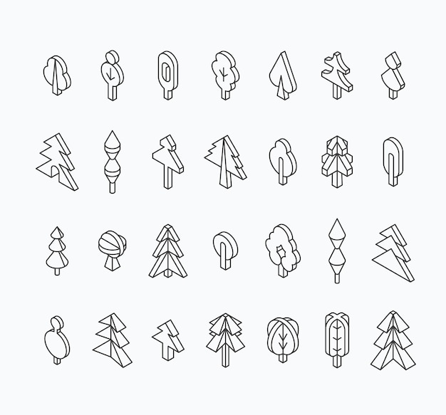 Insieme grafico dell'albero, stile della linea isometrica. delinea gli oggetti isolati vuoti.