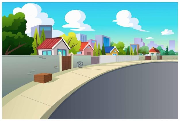 Grafica, villaggi e strade di giorno.