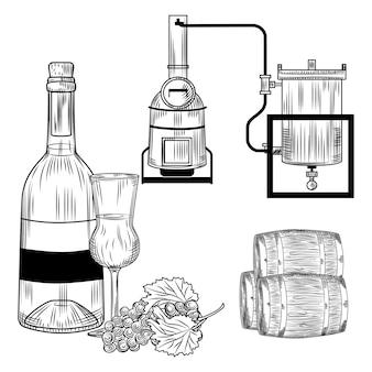 Grappa impostata su sfondo bianco. alcol italiano in bottiglia stile incisione retrò, vetro, uva, alambicco. illustrazione d'epoca.