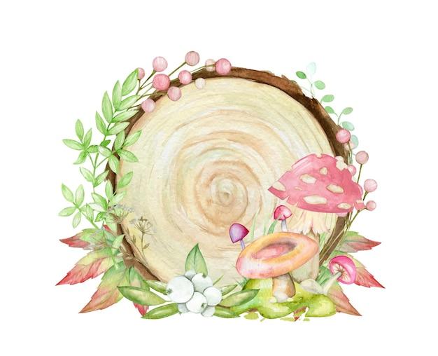 Erba, rami, funghi, foglie, sullo sfondo di un albero.