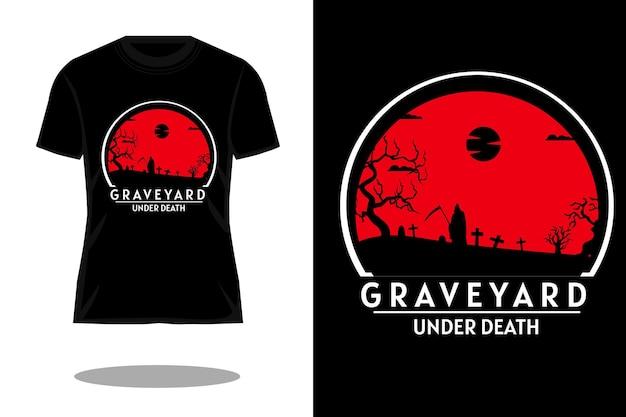 Design retrò della maglietta del cimitero sotto la morte