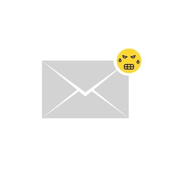 Icona grigia della lettera del messaggio arrabbiato con gli emoji. concetto di sms, corrispondenza spam, volgare, disputa, furioso, commento, avatar divertente. design grafico del logo moderno di tendenza in stile piatto su sfondo bianco