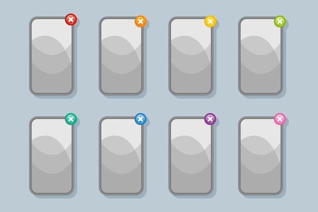 Banner grigi per il menu di giochi per telefoni cellulari e giochi per computer con pulsanti di chiusura (uscita) di diversi colori per la progettazione dell'interfaccia utente.