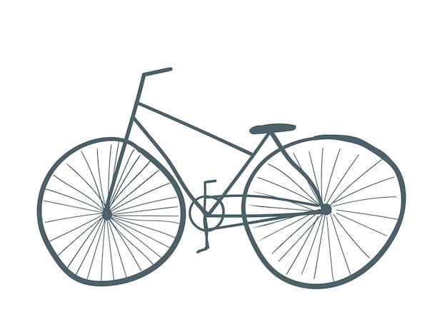 Illustrazione di vettore di stile del fumetto disegnato a mano di trasporto isolato bici di colore grigio