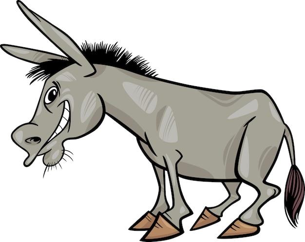 Illustrazione di cartone animato asino grigio
