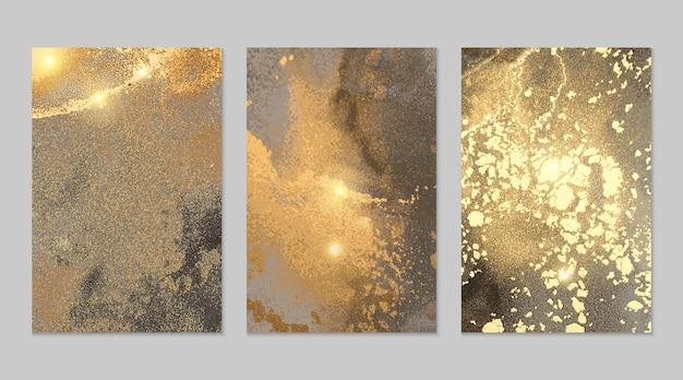 Trame astratte in marmo grigio e oro