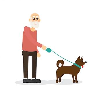 Signore anziano dai capelli grigi, con la barba, vecchio che cammina con il cane. personaggio.