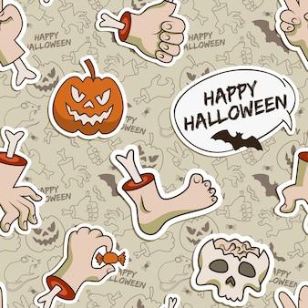 Modello senza cuciture grigio halloween con elementi di carta tradizionali