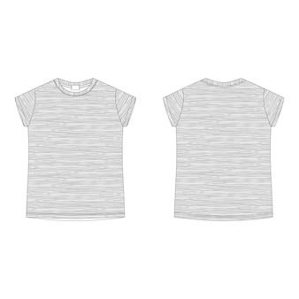 Modello vuoto t-shirt grigio melange. maglietta tecnica di schizzo dei bambini isolata su fondo bianco.