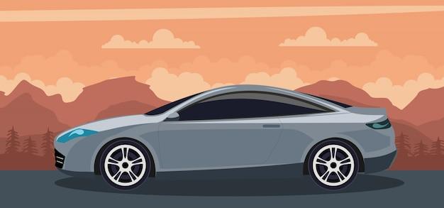 Automobile moderna grigia su un tramonto sulla spiaggia