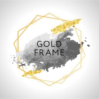 Pennellate grigie, nude, pesca, dorate e macchie in cornice rotonda dorata su sfondo bianco. illustrazione.