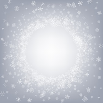 Sfondo grigio neve grigia. fantasia nevicata design. sfondo bianco vacanza. vacanze invernali con fiocchi di neve.