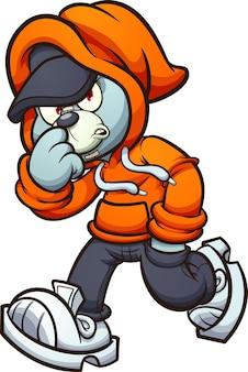 Orsacchiotto grigio con felpa arancione che cammina