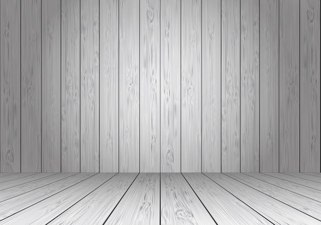 Prospettiva vuota della stanza in bianco della parete e del pavimento di legno grigio.