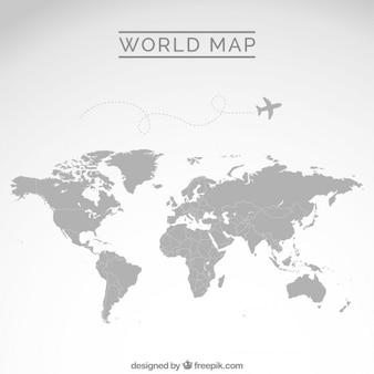 Gray mappa del mondo Vettore Premium