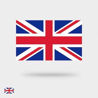 Icona piana della bandiera della gran bretagna o progettazione piana del pittogramma del quadrato di simbolo del regno unito isolata