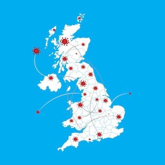 Mappa grafica vettoriale della gran bretagna e coronavirus