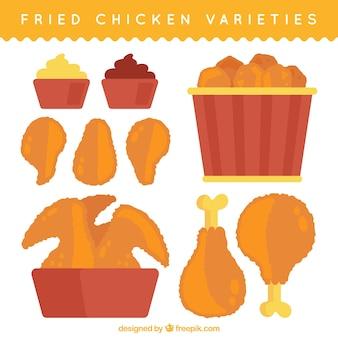 Grande collezione di gustosi pollo fritto