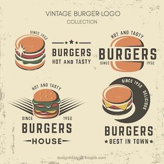 Grande collezione di logo di hamburger vintage
